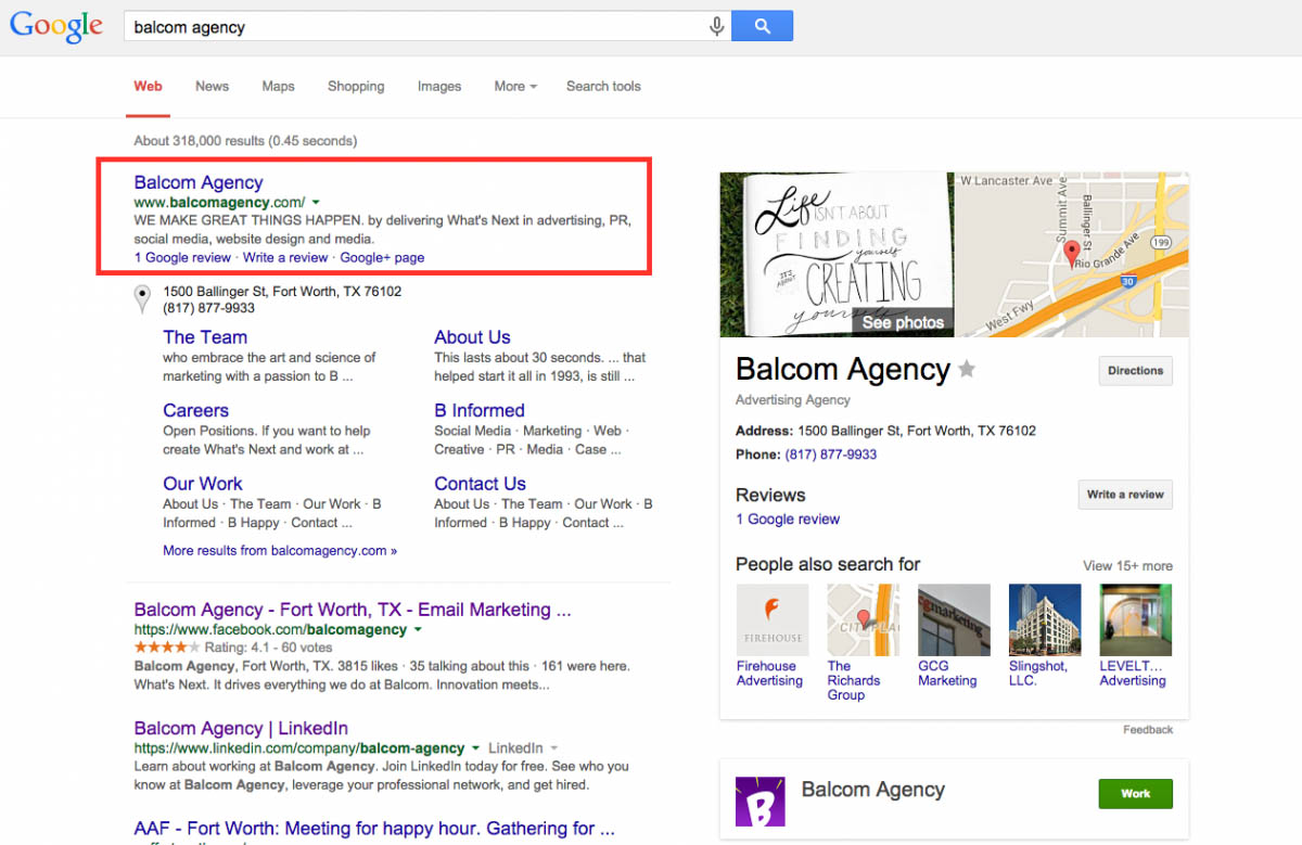Searching for Balcom Agency on Google