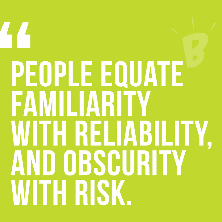People equate familiarity with reliability, and obscurity with risk