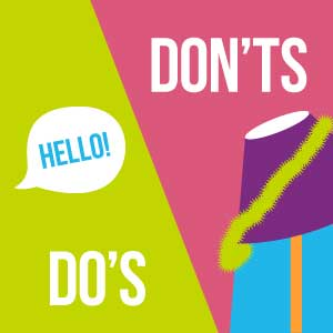 do's and don'ts party lampshade graphic