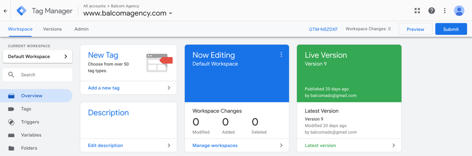 Example of Google Tag Manager Workspace