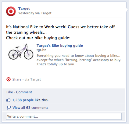 Target ad for bike to work week